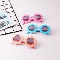 6 색 패션 아기 소녀 선글라스 어린이 라운드 꽃 태양 안경 안경 여름 유아 아이 액세서리 M1709