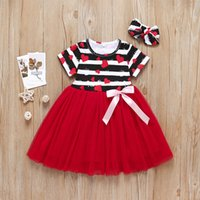 Vieeoease Girls Dress Love Kids Clothing 2019 Moda de verano de manga corta de encaje de la princesa vestido de tul CC-359