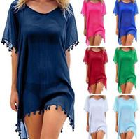 22Styles летние пляжные платья с кисточками мяч Pareo Beachwear Chiffon Sarong платье для купальника женщин платье для волос бикини платье GGA3377