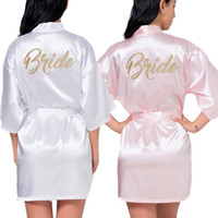 Women's Satin Wedding Kimono Bride Oro Robe Sleepwear Sleepwear Bridesmaid Robes Pigiama Accappatoio NightGown Spa Bridal Robes Dressing Gown
