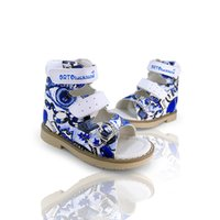 Kids Arch Support Orthopedic Leather Shoes Boys Fashion Graffiti Summer Leisure Open-toe Corrective Sandals for Toddler Children