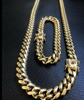 10 ملم رجالي ميامي الكوبي ربط سوار سلسلة مجموعة 14 ك الذهب مطلي الفولاذ المقاوم للصدأ