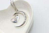 Día JRL romántica Te amo a la luna y el corazón collar de cadena de la aleación de los colgantes del corazón para las mujeres joyería de San Valentín regalo K33