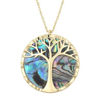 2019 Explosion Collier Arbre De Vie De Mode Pendentif Collier Naturel Abalone Shell Collier Or Nouveau Design Colliers