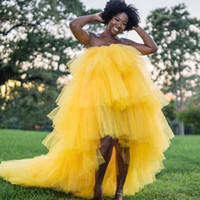 Black Girls Yellow Prom Dresses Strapless High Low Tiered Ball Gown Evening Dress African Dubai Cocktail party Gowns Vestidos