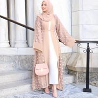 2019 Donne Abayas Kaftan Abaya Dubai Islam Cardigan floreale Abito musulmano Caftano Marocain Hijab Dress Turco Abbigliamento islamico