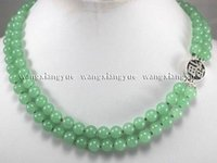 2rows 8mm Green Jade Round Beads Gemstones Jewelry Necklace ...