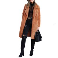 الشتاء القطيفة التلبيب عنق المرأة معاطف طويلة أزياء سترة صوفية معاطف الصوف عارضة لون الصلبة النساء ملابس خارجية