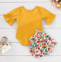 Ins Summer Infant Baby Girls Set Kids Flare Sleeve Rompers +...