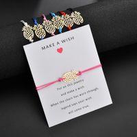 Hacer un deseo Pulsera con forma de piña con tarjeta de regalo Para las mujeres Oro Fruta Blanco Negro Rojo Cuerda cuerda Envolver BangleJewelry
