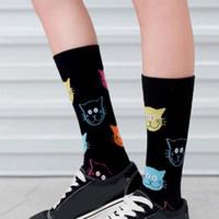 Socken Strumpfwaren 1Pair Frauen Harajuku Lustige Niedliche Cartoon Tier Baumwolle Katze Hund Muster Happy Unisex Knöchel Paar Skateboard