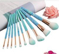 12 pz / lotto Marmo spazzola per il trucco giada modello cosmetici pennelli fondotinta in polvere make up pennello strumenti pennelli set FFA1539