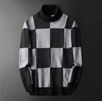 남자 스웨터 2021 남자 럭셔리 겨울 배지 색상 블록 블록 회색 빨강 녹색 캐주얼 풀오버 아시아 플러그 크기 고품질 # M77