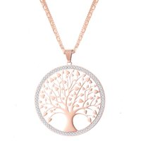 Stainless Steel Tree Of Life Pendant Necklace For Women Swea...
