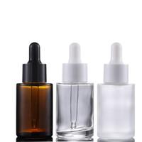 kozmetik özü LX1768 için cam Dropper ile 30ml Düz Omuz Buzlu temizleyin Amber Cam Yuvarlak Esansiyel Yağı Serum Şişe