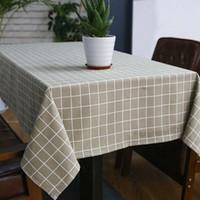 Sytlish 리넨 테이블 천으로 국가 스타일 격자 무늬 인쇄 다기능 직사각형 테이블 커버 식탁보 홈 주방 장식