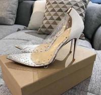 Designer de moda novo PVC transparente r ed-solado de salto alto, stilettos apontou cristal sexy vestido sapatos para senhoras sapatos de casamento