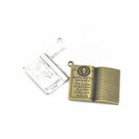 Bulk 100 stks / partij Antiek Brons Antiek Zilver Legering Metalen Dood Note Wizard Boek Charms Hanger 35 * 25mm