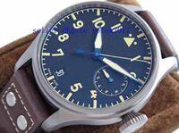 Mens Luxury Top Quality Cal.51111 46mm Montre à cadran bleu 7 jours épargne dynamique Saphir Automatique Mécanique Montre Homme Marron leatherWatches