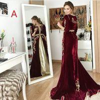 長袖2020レース刺繍プラスサイズドバイAbaya Kaftan Kleider Robes de Soire Prom Gownsのブルゴーニュのベルベットの夜のフォーマルドレス