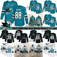 San Jose Sharks Jerseys 88 Brent Burns 65 Erik Karlsson 39 Logan Couture 19 Thornton 9 Evander Kane Green Black Hockey Jerseys