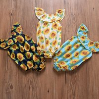 Baby girls Sunflower Romper Newborn infant Sunflower print J...