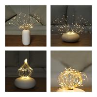 FR STOCK 2PCS 150-LED DIMMABLABLABLE STARBURST Lampes à cordes imperméables Lampe de plomb pour la décoration Lampe de cordon Lumière en plein air avec télécommande