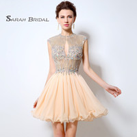 Short Luxury Blush A- Line Prom Dresses 2019 Sexy Backless Co...