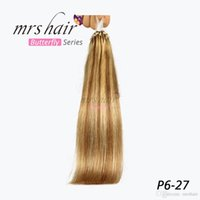 MRSHAIR 50 Soporte Easy Loop Silicone Micro Ring Beads Extensiones de cabello humano Brazilian Straight Hair Piano P6 # -27 Color 14 '' 20 '