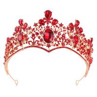 Impresionante Barroco Corona nupcial Tiara Hunter Verde Rojo Cristales Joyería del pelo del banquete de boda Nueva llegada Diseño único Princesa Reina Celada