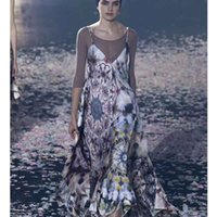Cosmicchic Runway Strap Sexy Maxi Dress Flower Print V- Neck ...