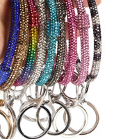 Silicone strass Keychain Bracelets Femmes Bling Bracelet Cristal Key-Bracelet Big O Bracelet Chaînes Cercle Car Keychains Vente D22904
