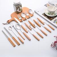 kayın ağacından çatal kaşık bıçak ile Sıcak Satış paslanmaz çelik yemek sofra kaliteli çatal bıçak hediye olarak kullanabilirsiniz set