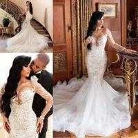 Magnifique manches longues robes de mariée dentelle appliquant illusion sirène pure cou balle train train robe de mariée vestido de novia