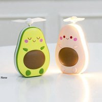 Avocado Fan Cartoon Portable Rechargeable Mini USB Children Handheld Fans with Light Mirror Party Favor OOA8011