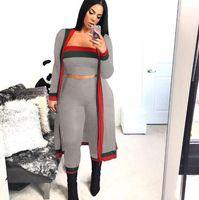2020 Neue Ankunft schwarz gestreift 3 Stück Sets Lässige Outfits Lange Mantel trägerlos Overall Bodysuit Frauen Kleidung Sets Kostüme plus Größe WO