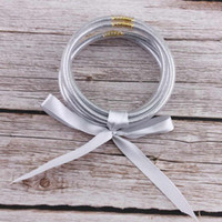 Tous Temps Glitter Bracelets Set Glitter Rempli Silicone En Plastique Bowknot Ruban De Soie Jelly Bracelets Bracelets Vente Chaude