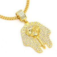Rhinestone египетский фараон высокого качества Золотой танец ожерелье Street Hip Hop Подвеска египетский Фараон кулон