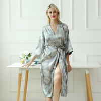 Sexy Gris Longs Vêtements de Nuit Imprimer Robe De Rayon Pyjamas Des Femmes Sexy Peignoir Robe De Mariée Femmes Mariée Robes De Mariée De Demoiselle D'honneur