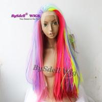Цветные волосы парики синтетические длинные прямые выделенные розовые фиолетовые красочные волосы кружева передний парик русалка косплей вечеринка Pelucas парики для женщин