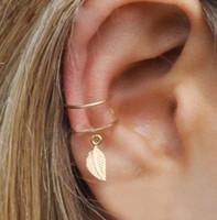 5pcs / Set Mode Poigne d'oreille Gold Feuille Boucle d'oreilles Boucles d'oreilles pour femmes grimpeurs Aucun piercing faux cartilage boucle d'oreille