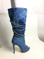 Hot Sale- new fashion boots stiletto heel chain blue denim b...