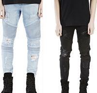 Designer Men Skinny Ripped Brand Jeans Distressed Jeans slim denim élastique trou pantalon de hip-hop motard noir délavé Plus la taille 38 des jeans
