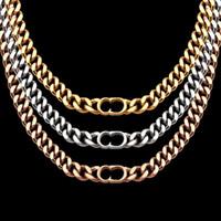 Designer superiore di lusso Gioielli Spesso Collane d'acciaio di titanio placcato oro 18K 3 colori Collana D Per gli uomini regalo