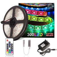 5M 5050 RGB Faixa de LED DC 12V 60 LEDs / m fita flexível impermeável Tira Led Light Strips Diode Tape RF Controlador + Power Adapter