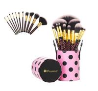 11шт набор кистей для макияжа косметические кисти + цилиндр тени для век лицо золотая точка макияж кисть многоцелевой красоты косметические кисти инструмент GGA1894