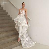 2020 Charme blanc 3D Fleurs manches Deux Pièces Appliques Pantalons Robe de mariée Costumes plissés mariée de mariée formelles Plus haut Plus bas Robes