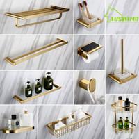 Conjunto de acessórios de banho Bathrom Chuveiro Prateleira Montada de ouro Banheiro de hardware Organizador de canto 304 Aço inoxidável escovado