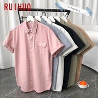 RUIHUO 2020 New Spring Solid Casual Short Sleeve Shirt Men S...