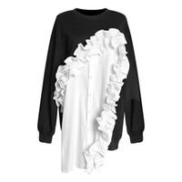 فاخر مصمم النساء هوديي الأذن قميص غير النظامية المتخصصة تصميم كم طويل الرقبة جولة سترة الربيع والصيف للمرأة على النقيض من لون جديد